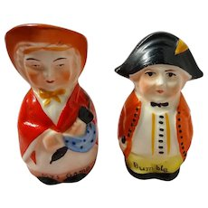 CUTE Vintage Salt and Pepper Shakers,Charles Dickens Characters Mrs Gamp and Bumble Shakers,Hand Painted,Made In Czecho-Slovakia,Collectible
