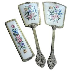 BEAUTIFUL Vintage Dresser Vanity Set Petit Point Pink Roses Hair Brush, Beveled Mirror, Clothes Brush Ornate Gilt Metal Filigree Handles