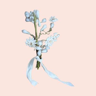 Antique WAX BOUTONNIÈRE Wax Flowers, Wedding Wax Flowers, Vintage Wedding,Wax Flower Headpiece, Wedding Headpiece, For Dolls,Antique Wax Flowers