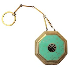 BEAUTIFUL Antique ART DECO Powder Compact, Richard Hudnut Finger Chain Compact,Gold Wash Enamel, Fab Condition,Collectible Powder Compacts