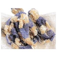 DECADENT Art Deco Flapper Era Iridescent Beaded Trim Lavender Beads Beige Sequins on Netted Lace Vintage Embellishment Lace Beaded Textile