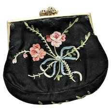 LOVELY Antique FRENCH Embroidered Change Purse,Pink Roses,Blue Bow, Handbag Purse,Evening Clutch, Collectible Purses, Made in France