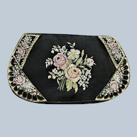 LOVELY Antique Petit Point Needlework Tapestry Purse Colorful Roses Handbag Evening Clutch Pastel Colors with Black Bag Collectible Purses