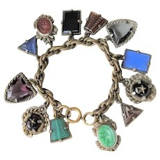 GORGEOUS Art Deco Czech Glass FOB Charm Bracelet 12 Detailed Watch Fobs,Quality 1920s-30s Unique Bracelet,Collectible Czech Glass Jewelry