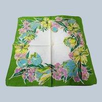 1950s BEAUTIFUL Vintage Printed Hanky Hankie Handkerchief Lush Flowers Frame It Give As Gift Collectible Printed Hankies