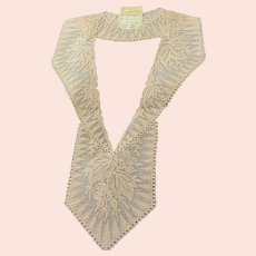 1920s Antique DECO French Tulle Netted Embroidered Lace Collar Applique Flapper Dress Downton Abbey Great Gatsby Bridal Vintage Clothing