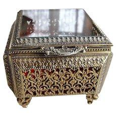 BEAUTIFUL Vintage English Made Jewel Casket, Ormolu Filigree Jewelry Box, Footed Box,Substantial Vanity Box, Beveled Glass Jewel Box