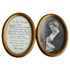 SWEET Antique Double Frame To My Mother Picture, Mother Poem and Picture of Mom Knitting, Gilt Double Metal Frame, Perfect Mother Gift