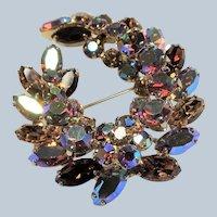 SPARKLING Sherman Signed Glass TOPAZ Rhinestones Brooch,Prong Set,Brilliant Rhinestones,Dazzling Swarovski Crystal,Collectible 1950s Vintage Jewelry