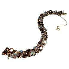 Sparkling SHERMAN Bracelet,Prong Set,Aurora Borealis and Topaz Rhinestones,Dazzling Swarovski Crystal,Collectible Glittering Sherman Jewelry