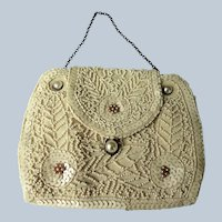 GORGEOUS Antique French Beaded Purse,Hand Beaded Handbag,Striking Design,Wedding or Evening Bag,Collectible Purses