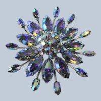 Vintage SHERMAN Brooch,Dazzling Peacock BLUE Rhinestones,Large Flower Design,Swarovski Crystal,Collectible Jewelry,50s Mid Century Jewelry