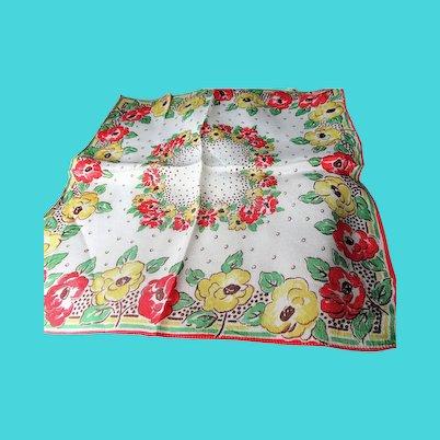 1930s ART DECO Hanky,Silky Hankies, Printed Flowers Hanky,Colorful Vintage Hankies,Collectible Vintage Hankies