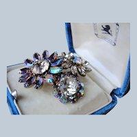 Vintage SHERMAN Signed Brooch Topaz Rhinestones with Blue Aurora Borealis,Floral Design Mid Century, Swarovski Crystal,Collectible Vintage Jewelry