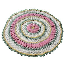 CHARMING Vintage Floral Doily, PINK Flower,Hand Crocheted Doily,Farmhouse Decor,French Country Cottage,Collectible Doilies,Vintage Decor