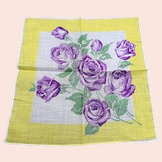 50s VINTAGE Hanky Printed Purple ROSES,Colorful Floral Handkerchief,Frame It Hankie,Collectible Hankies,Shabby Chic,Hankies To Collect