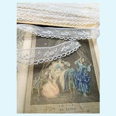 Antique BEAUTIFUL French Lace Cotton Trim Delicate Intricate Pattern For Dolls, Teddy Bears,Christening Gowns, Bridal Heirloom Sewing,Collectible Lace