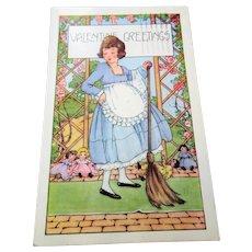 ANTIQUE 1922 Valentine Postcard,Embossed DOLLS and Little Girl, Collectible Vintage Valentines Postcards