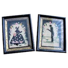 CHARMING Antique Needlework Southern Lady and Gentleman, Petite Point,Lovely Colors, Farmhouse Decor,Chateau Chic Decor, Vintage Silhouettes