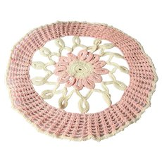 BEAUTIFUL Vintage Doily Pink and Creamy White Hand Crocheted Doily Farmhouse Decor,Romantic Cottage Decor,French Country Collectible Doilies