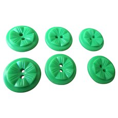 PRETTY 1930s Vintage Buttons Set,Art Deco Button set,Leaf Green Buttons,Raised Pattern,One Inch Size Buttons,Collectible Vintage Buttons