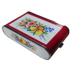 UNCOMMON Vintage Musical Powder Compact, Cigarette Case, Combination Case, Plastic Case, Dandy Mate Silvia, Floral, Cigarette Holder, Music Box,Collectible Powder Compacts