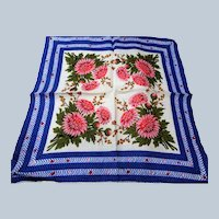 Lovely VINTAGE 50s COLORFUL Printed Linen Hanky Handkerchief Hankie Frame It, Give It As a gift, Collectible Hankies