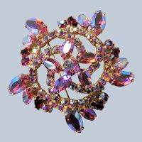 GORGEOUS Brooch,Large Glittering PINK AB Rhinestone Brooch,Prong Set,Brilliant Rhinestones,Dazzling Swarovski Crystal,Collectible Jewelry