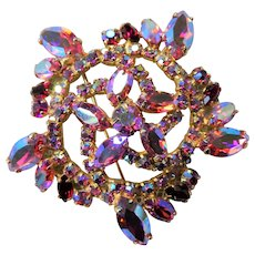 GORGEOUS Brooch,Large Glittering PINK AB Rhinestone Brooch,Prong Set,Brilliant Rhinestones,Dazzling Swarovski Crystal,Collectible Jewelry