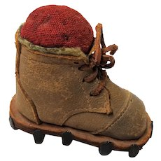 UNIQUE Antique Pin Cushion, Figural Pin Cushion Mountain Climbing Boot, Victorian Mountaineering Boots with Metal Cleats,Swiss Boot Pincushion ,Collectible Pin Cushions