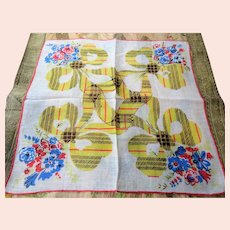 VINTAGE 1940s Printed Linen Hanky Plaid Bows Ribbons Handkerchief Hankie Frame It Give As Gift Collectible Hankies Colorful Hanky