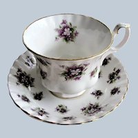 VINTAGE Royal Albert English Bone China SWEET VIOLETS Teacup and Saucer, Fluted and Pedestal Cup and Saucer,Collectible Teacups