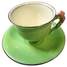 VINTAGE Figural Handle Teacup and Saucer,Royal Winton GrimWades Floral Handle,Pink Roses Handle,Pedestal Cup,Collectible Vintage Teacups