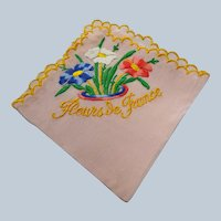 BEAUTIFUL 1920s-30s French Silky Hanky Flowers of France Embroidered Pink,White and Blue Flowers, Bridal Hanky ,Collectible Hankies