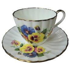 CHARMING English Bone China Teacup And Saucer,Cheerful Pansy Pansies Teacup and Saucer,Cup and Saucer,Collectible Vintage Teacups