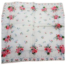 COLLECTIBLE Vintage Printed Chintz Floral Hanky,Colorful Flowers Handkerchief To Frame,Collectible Hankies,1950s Hankies,1950s Hanky,1950s Handkerchiefs,Mid Century Hankies