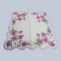 50s VINTAGE Printed Floral Hanky,Colorful Purple Flowers Hankie,Handkerchief To Frame,Collectible Hankies,Bridal Hankies To Collect