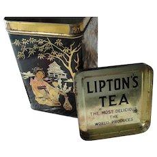 DECORATIVE Vintage Tea Tin,Lipton Tin,Farm House Decor,Tea Canister,Oriental Decor,Black Gold Tin,Antique Tins,Collectible Advertising Tins