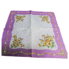 50s VINTAGE Hanky Printed Flowers,Ribbon Motifs,Colorful Handkerchief,Frame It Hankie,Collectible Hankies,Shabby Chic,Hankies To Collect