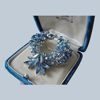 Vintage SHERMAN Signed Glittering Blue Rhinestones Brooch,Prong Set,Brilliant Rhinestones,Dazzling Swarovski Crystal,Collectible Jewelry