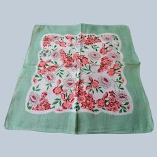 VINTAGE 1940s Printed Linen Hanky Colorful Flowers Handkerchief Hankie Frame It Give As Gift Collectible Hankies Colorful Hanky
