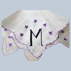 VINTAGE 1950s Monogram M Hanky Pretty Floral Violets Embroidery Handkerchief,Something Old,Bridal Hankie,Collectible Vintage Hankies