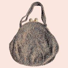 BEAUTIFUL 1920s 30s Art Deco Purse, Belgium Evening Bag,Copper Bronze Micro Beaded HandBag, Flapper Era Collectible Antique Purses