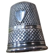 LOVELY Antique Silver Thimble Amethyst Glass Top, Never Monogrammed Thimble,Vintage NeedleWork Tools, Sewing Tools Collectible
