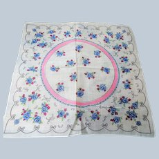 50s VINTAGE Printed Hanky,Chintz Floral Hanky,PINK and BLUE Flowers Hankie,Handkerchief To Frame,Collectible Hankies,Bridal, Hankies To Collect