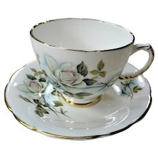 LOVELY Teacup and Saucer Delphine English Bone China,Lush White Roses,Vintage Cup and Saucer,Tea Time China, Collectible Teacups\