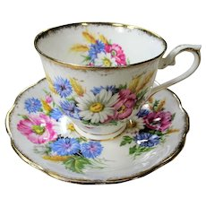 GORGEOUS Vintage Teacup and Saucer Royal Albert English Bone China Colorful Flowers HARVEST BOUQUET Vintage Cup and Saucer Tea Time Cups and Saucers Bridal Gifts House Warming Gift