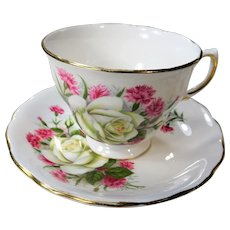 LOVELY Vintage Teacup and Saucer Royal Vale English Bone China Lush White Roses Carnations, Vintage Cup and Saucer Tea Time Cups and Saucers Bridal Gifts Collectible Teacups