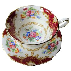 VINTAGE Royal Albert English Bone China Teacup and Saucer,Elegant CANTERBURY Pattern,Pretty Flowers,Pedestal Cup and Sauce,Collectible Vintage Teacups