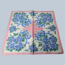 COLORFUL Vintage Printed Floral Hanky,Blue Flowers Ribbons,Handkerchief To Frame Collectible Hankies,1950s Hankies, 1950s Hanky, 1950s Handkerchiefs, Mid Century Hankies